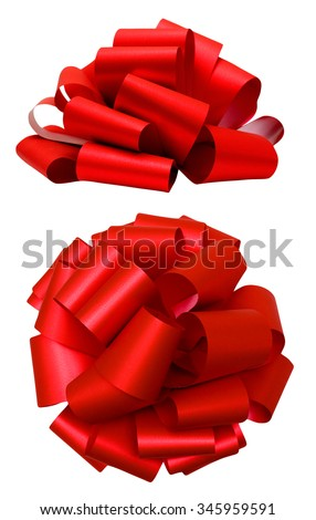 Red lush bow isolated over white with clipping path; side and top view #345959591