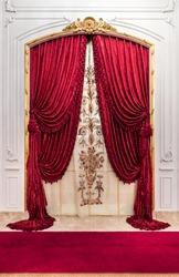 Red luxury satin curtain