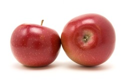 Red macintosh apple from low viewpoint isolated against white background.