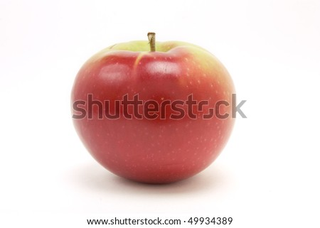 Red macintosh apple from low viewpoint isolated against white background. - stock photo