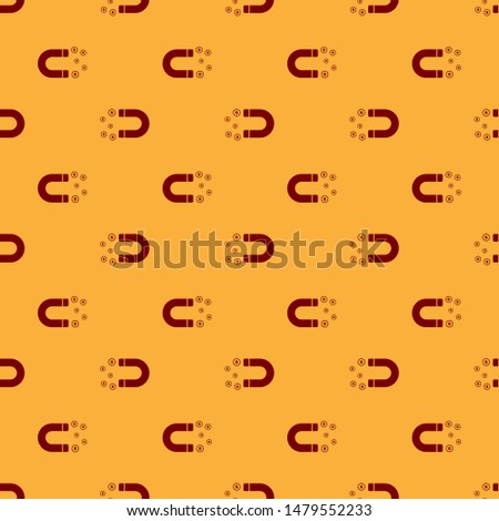 Red Magnet with money icon isolated seamless pattern on brown background. Concept of attracting investments, money. Big business profit attraction and success