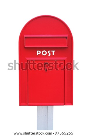 Red mail box over a white background