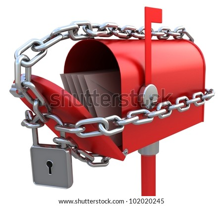 Red mail box with letters is bound by a chain. 3D illustration isolated on white
