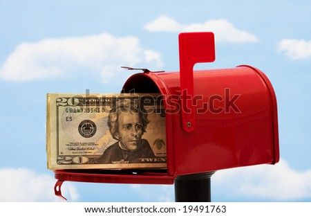 Red mailbox filled with twenty dollar bills and a blue sky and cloud background, mailbox
