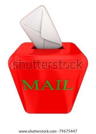 Red mailbox with a white cover. 3d rendered.Isolated on white.