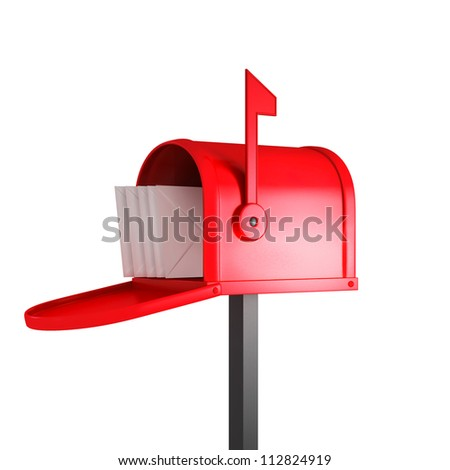 red mailbox with mail