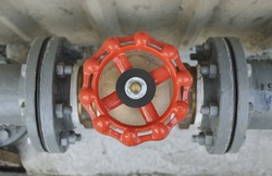 Red main public water valve