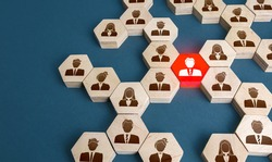 Red man in the general structure of people's connections. A key essential employee. Irreplaceable valuable employee. Specialist and professional. Experience, communication leadership skills.