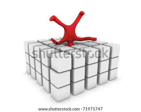 red man on cubes