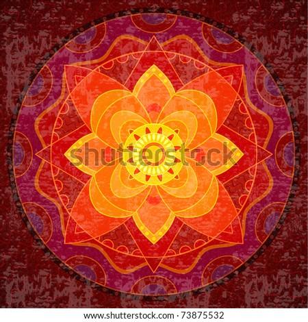 red mandala, bright circular ethnic pattern native indian ornament