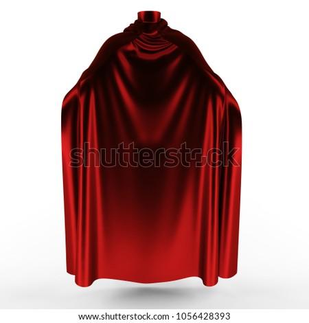 Red mantle, cloak, cape. 3d illustration.