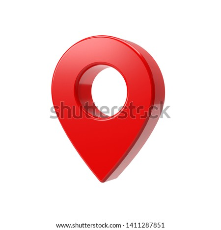 Red map pointer 3d pin. Location symbol isolated on white background. Web location point, pointer. 3D rendering.