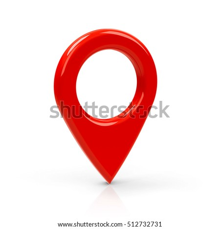 Red map pointer isolated on white background, three-dimensional rendering, 3D illustration