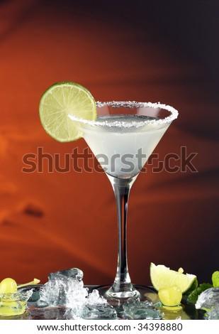 red margarita cocktail with lemon