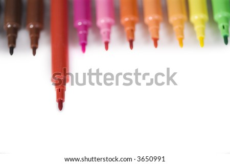 red marker stands out from the crowd - stock photo