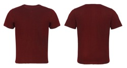 Red, Maroon Blank  T-shirt Front and Back