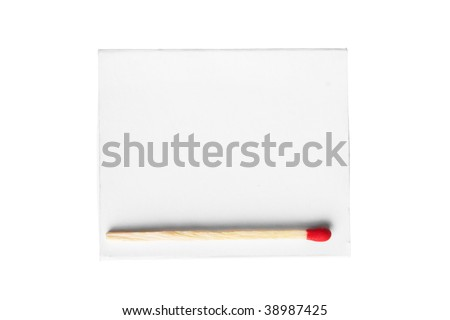 red match on a white box isolated on a white background.