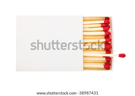 red matches in a white box isolated on a white background.