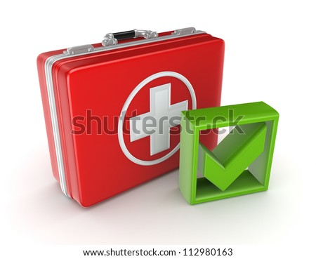 Red medical purse and green tick mark.Isolated on white background.3d rendered.