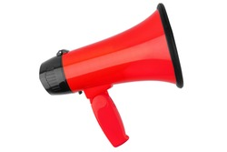 Red megaphone on white background isolated close up, hand loudspeaker design, red loudhailer or speaking trumpet illustration, announcement or agitation symbol, media or communication icon, alert sign