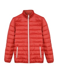 Red men sport ski winter down jacket isolated white
