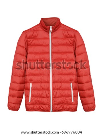 Red men sport ski winter down jacket isolated white