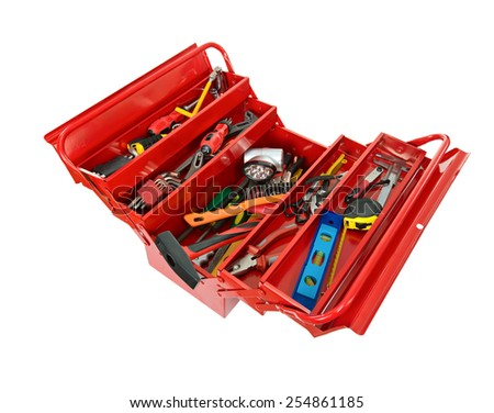 Red metal box filled with tools. isolated