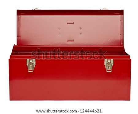 Red metal toolbox isolated in a white background