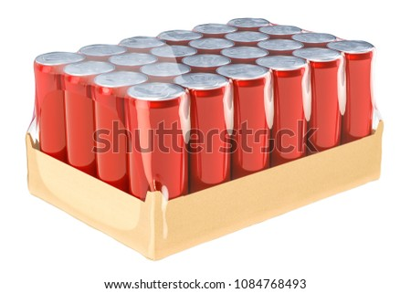 Red metallic drink cans in shrink film, 3D rendering isolated on white background