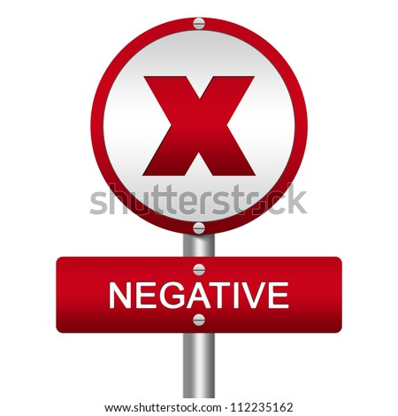 Red Metallic Street Sign Pointing to Negative With Cross Sign Isolated on a White Background