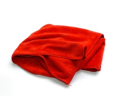 red micro fiber towel isolated on white background
