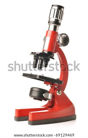 red microscope isolated on white background