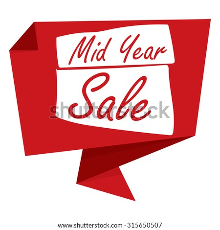 Red Mid Year Sale Paper Origami Speech Bubble Or Speech Balloon ...