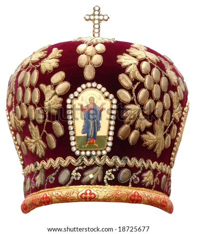 Red mitre -s olemn headgear of the orthodox bishop