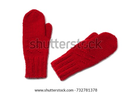Red mittens isolated on white background #732781378