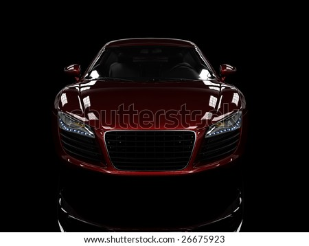 Red modern car isolated on black background. isolated on black background. Excellent material for web banners
