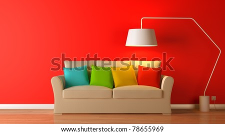 red modern interior composition