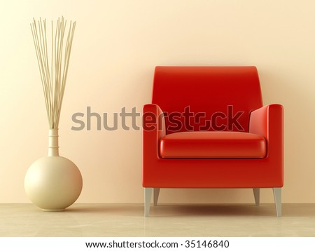 Red modern style seat and ornaments vase in interior