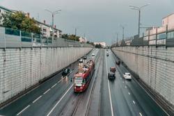 Red modern tram on the street in Kazan, Russia. Kazan's tram networks consists of 5 lines.