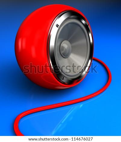 Red modern tweeter over blue, 3d  image