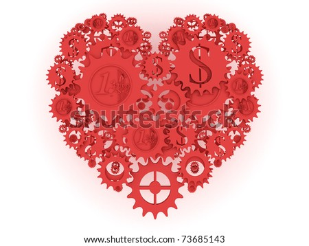 red money mechanism in shape of heart. Euro and dollar currency signs.