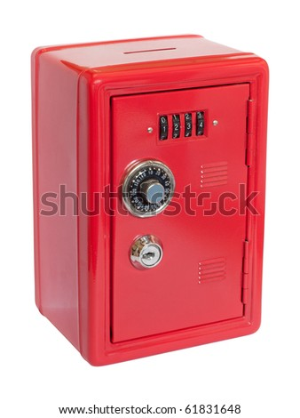 Red moneybox (piggy bank) made as safe. Isolated on white background with clipping path.