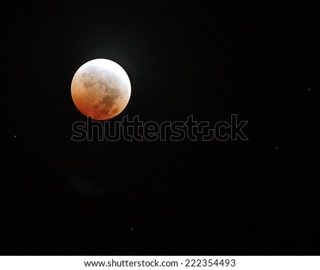 Red moon in total eclipse/Blood Moon/ Total eclipse of the moon on October 8,2014