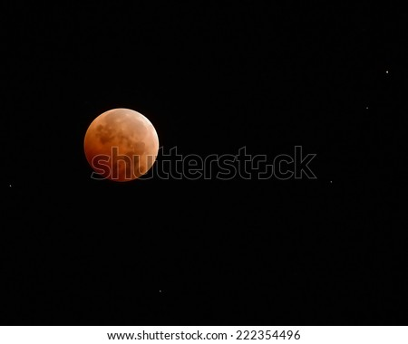 Red moon in total eclipse/Blood Moon/ Total eclipse of the moon on October 8, 2014