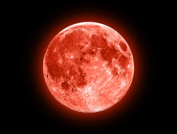 Red Moon isolated on a black