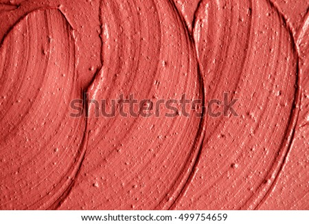 Red moroccan cosmetic clay texture close up. Abstract background #499754659