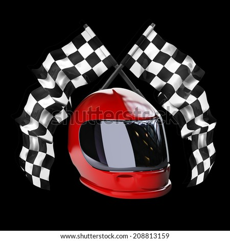 Red moto helmet. Two crossed checkered flags isolated on black background High resolution 3d render