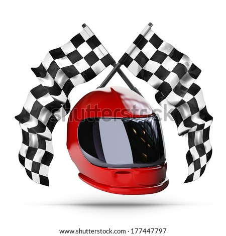 Red moto helmet. Two crossed checkered flags isolated on white background High resolution 3d render