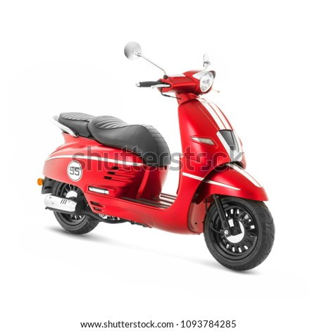 Red Motor Scooter Isolated on White Background. Side View of Vintage Electric Retro Motorcycle with Step-Through Frame and Platform. Modern Personal Transport. Classic Vehicle. 3D Rendering