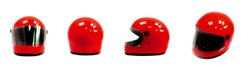 Red motorcycle helmet, front, back and  side on a white background.